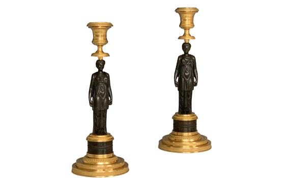 Antique French Empire Gilt & Patinated Bronze Candlesticks