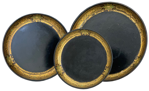 Three Victorian Papier Mache Trays