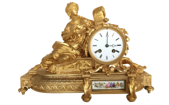 Antique Napoleon III Gilt Bronze & Porcelain Mantel Clock