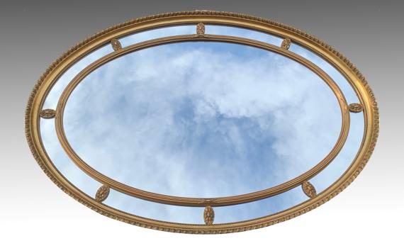 Antique Adan Style Edwardian Oval Gilt Mirror