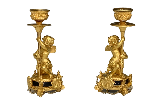 A Pair of Antique Victorian Ormolu Cherub Candlesticks