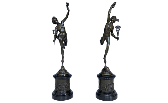 A Pair of Antique French Bronze & Marble Figures 'Mercury & Fortuna'