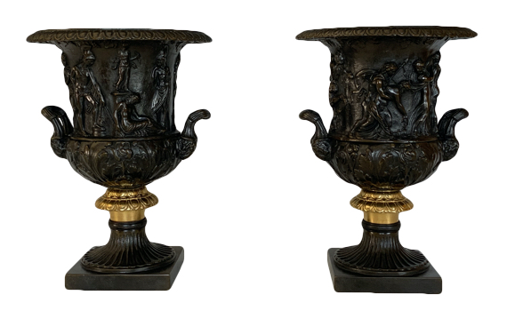 After The Antique Medici & Borghese Bronze Vases Grand Tour Style