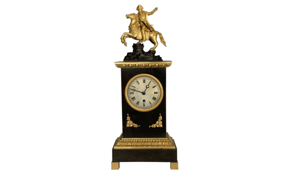 Antique French Mantel Timepiece Depicting Napoleon
