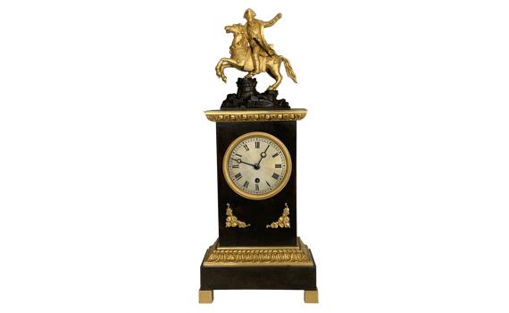 Antique French Mantel Timepiece Depicting Napoleon