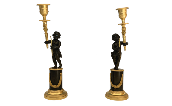 Antique George IV Pair of Ormolu & Bronze Candlesticks