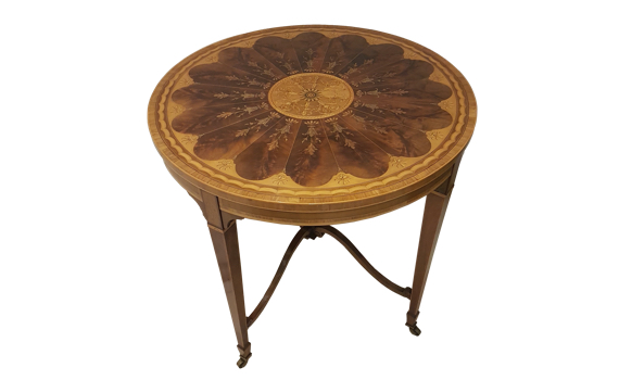 Antique Late Victorian Mahogany & Marquetry Circular Centre Table