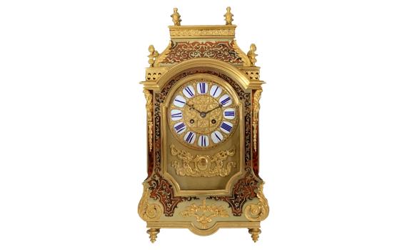 Antique Napoleon III Boulle Tortoiseshell & Ormolu Mounted Clock