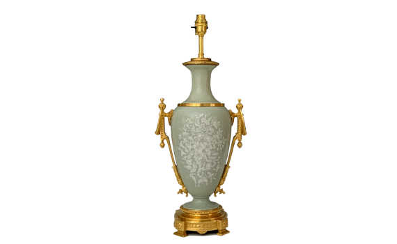 Antique 19th Century French Celadon Ground Pate-sur-Pate Lamp