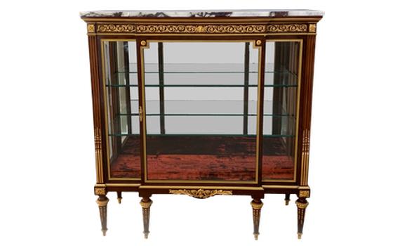 Antique Belle Epoque Mahogany & Ormolu Louis XVI Style Vitrine