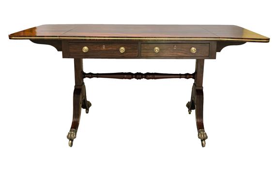 Antique Regency Rosewood Brass Strung Sofa Table
