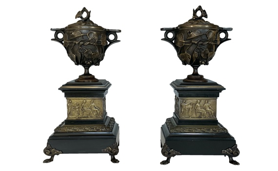Antique Pompeii Grand Tour Bronze Cups & Covers on Marble Bases