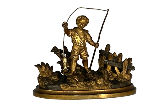 Antique Victorian Ormolu Desk Pen / Taper stick Stand of Boy Fishing