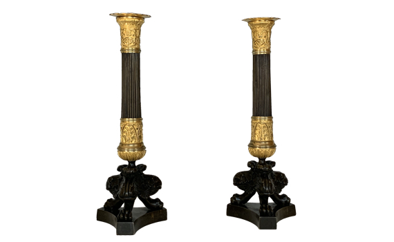 Charles X French Ormolu & Patinated Bronze Candlesticks