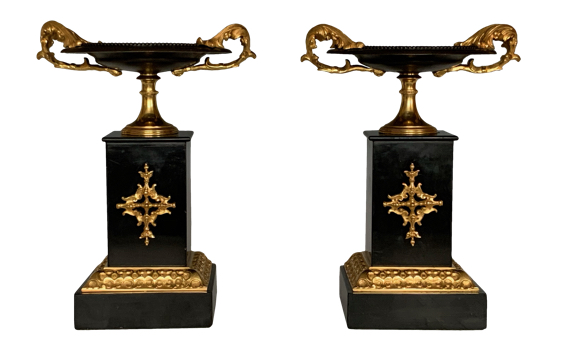Antique Pair of French Bronze & Marble Tazzas
