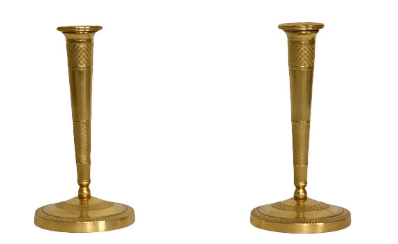 Antique Pair of French Empire Ormolu Bronze Candlesticks