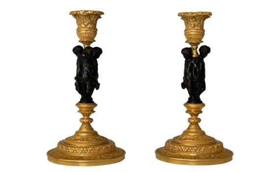 Antique French Pair of Ormolu & Bronze Candlesticks