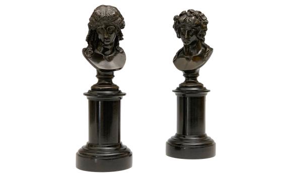 Antique Grand Tour French Apollo & Bacchus Bronze Busts
