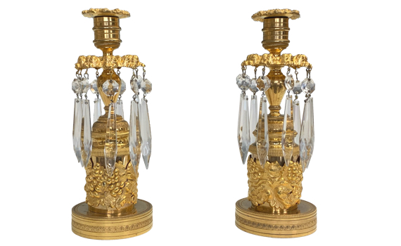 Antique Pair of Regency Style Lustre Candlesticks