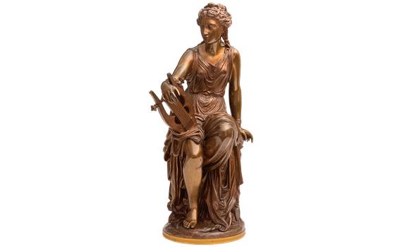 Antique Bronze Figure of Terpsichore by Louis Gregoire