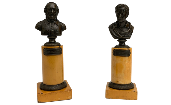 Antique Grand Tour Pair of Bronze Busts Byron & Shakespeare