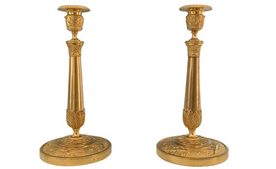 Antique French pair of Charles X Ormolu Candlesticks