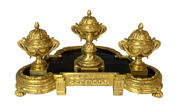 Antique Ormolu Encrier by Hazart in Louis XV Style