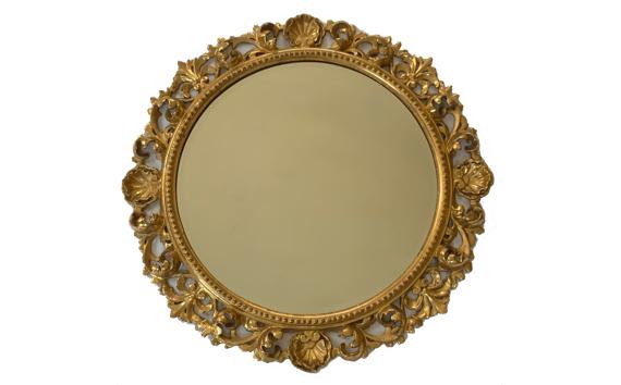 Antique Florentine Circular Giltwood Wall Mirror
