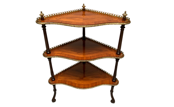 Antique Victorian Tulipwood Whatnot in the French Taste