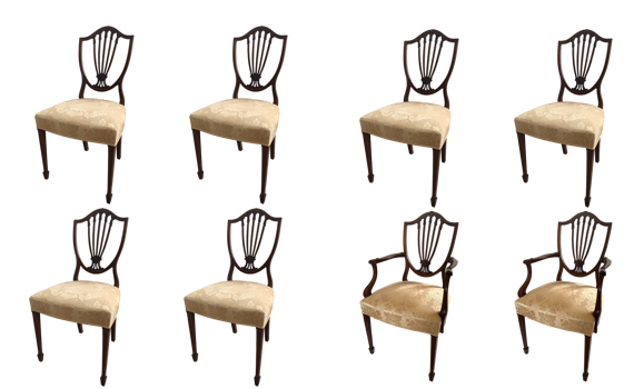 Antique Edwardian Set of Eight Mahogany & Inlaid Chairs