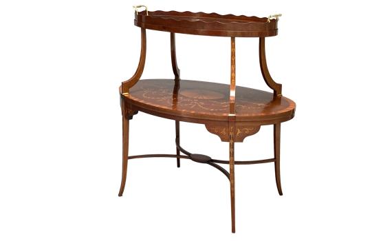Antique Mahogany & Marquetry Victorian Etagere Tea Table