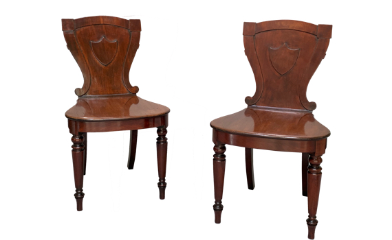 Antique Pair of George IV Mahogany Hall Chairs