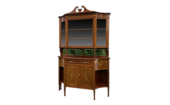Antique Edwards & Roberts Mahogany & Marquetry Cabinet