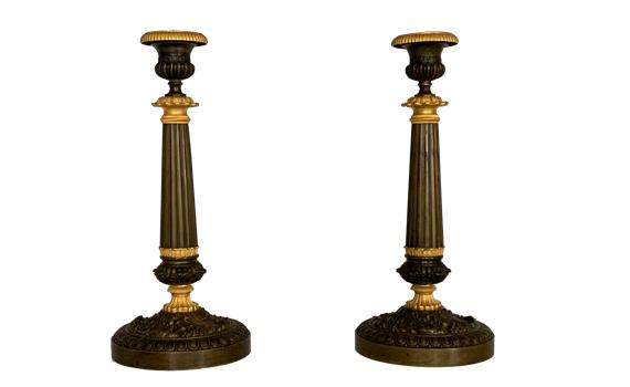 Antique French Charles X Ormolu Bronze Candlesticks