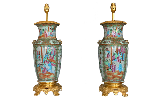 Antique Fine Pair of Chinese Porcelain Ormolu Mounted Table Lamps