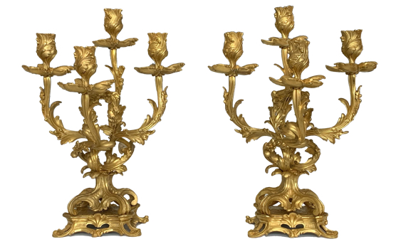 Antique Pair of French Louis XV Style Ormolu Candelabra