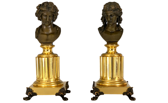 Antique Pair of French 'Grand Tour' Apollo & Bacchus Bronze Busts