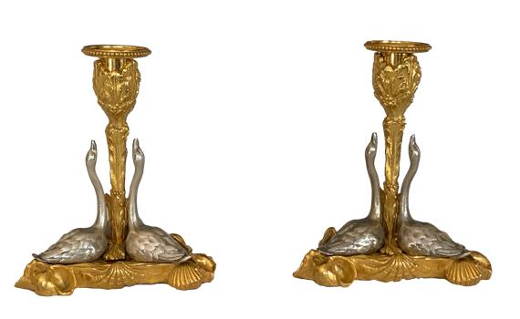 Antique Pair of William IV Ormolu Swan Candlesticks