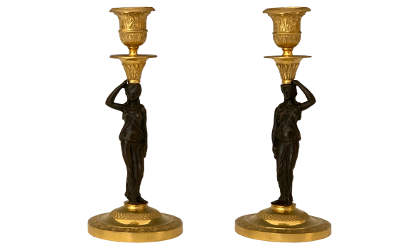 Antique French Empire Period Ormolu & Bronze Candlesticks