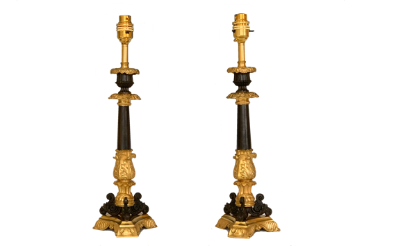 Antique French Ormolu & Bronze Table Lamps