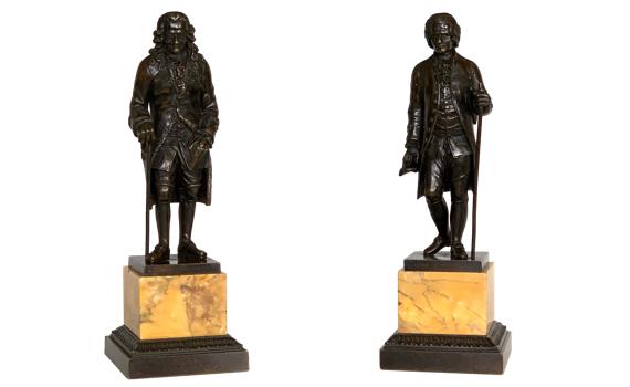 Antique French Restauration Bronze Figures Rousseau & Voltaire