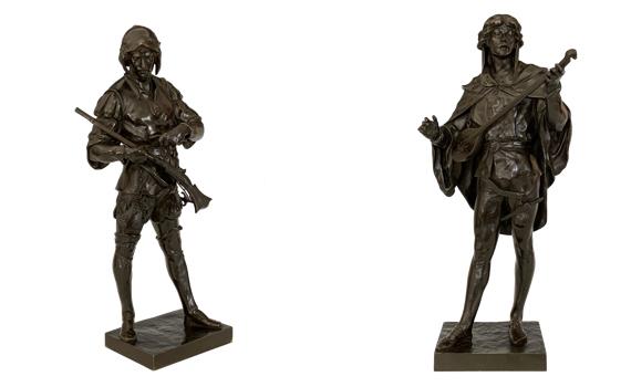 Antique Emile Picault Bronzes Serenade & French Soldier