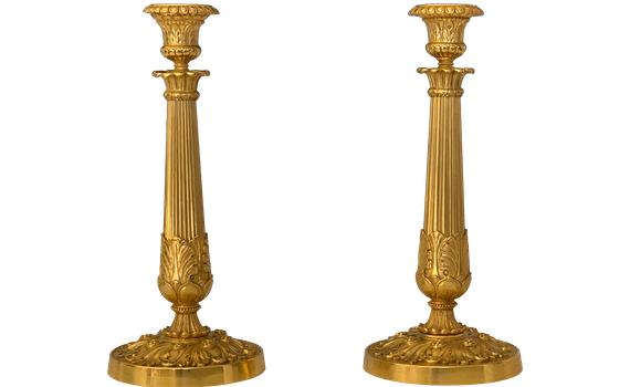 Antique French Charles X Ormolu Candlesticks