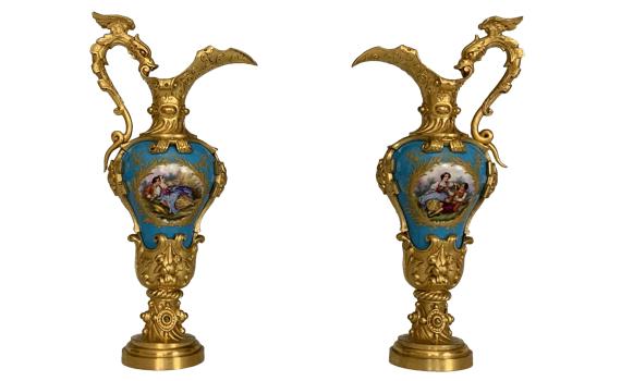 Antique Napoleon III Ormolu & Sevres Porcelain Ewers