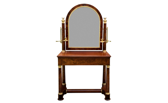 Antique French Empire Period Flame Mahogany Dressing Table