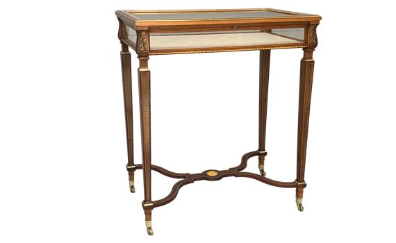 Antique Victorian Harewood Walnut & Ormolu Display Table