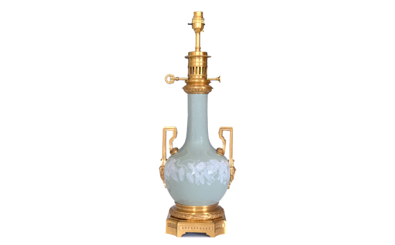 Antique French Pate-Sur-Pate Porcelain Lamp