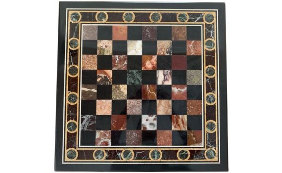 Antique Devonshire Specimen Marble Table Chess Top