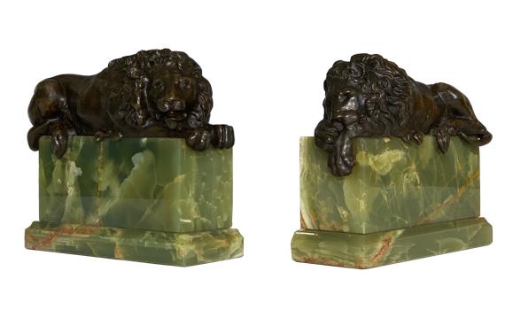 Antique 19th Century Bronze Lions After Canova