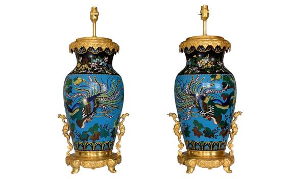 Antique Pair of Japanese Enamel Vases Table Lamps